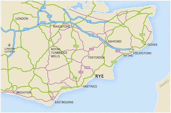 Map showing Rye in South East England