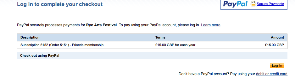 Paypal order screen